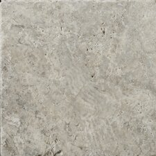 "Natural Stone 8"" x 8"" Tumbled Travertine Tile in Silver"