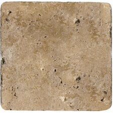 "Natural Stone 4"" x 4"" Tumbled Travertine Tile in Mocha"
