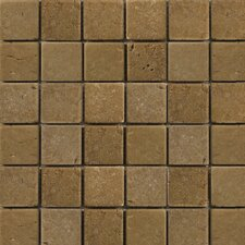 "Natural Stone 12"" x 12"" Cottage Tumbled Travertine Mosaic in Noce"