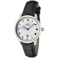 Women's Silver Textured Dial Black Leather Watch
