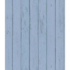 Destinations by the Shore Weathered Wood Plank Wallpaper in Light Blue