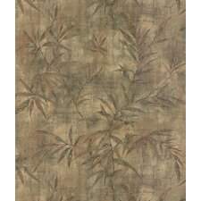 Destinations by the Shore Bamboo Leaf Letter Wallpaper in Copper / Green