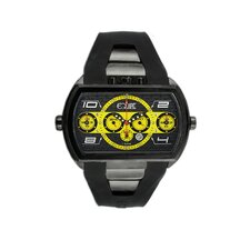 Dash XXL Men's Watch with Black Case and Black / Yellow Dial