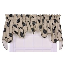 Riviera Cotton Blend Rod Pockets Large Scale Leaf and Vine Lined Duchess Swag Window Curtain Valance