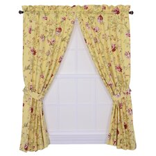 Coventry Scale Floral Tailored Rod Pocket Curtains Panel Pair with Tiebacks