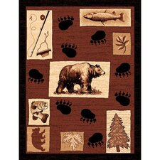 Lodge Design Fish/Bear Novelty Rug