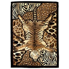 Skinz 72 Mixed Tiger and Animal Skins Print Patchwork Design Rug