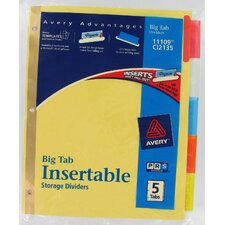5 Tab Assorted Colors WorkSaver Big Tab Paper Divider