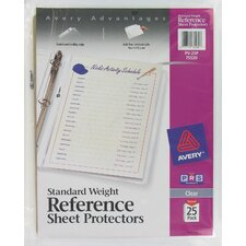 25 Pack Clear Standard Weight Reference Sheet Protector