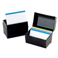 "4"" x 6"" Plastic Index Card Flip Top File Box"