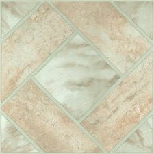 "12"" x 12"" Vinyl Tile in Light Marble Diamond Floor"