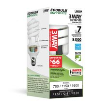13,20 or 25W Soft White (2700K) CFL Light Bulb