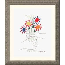 Hand with Bouquet Silver Framed Print - Pablo Picasso