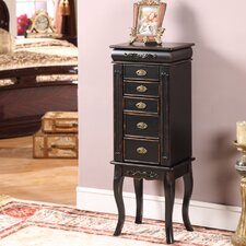 Morrel Six Drawer Jewelry Armoire in Distressed Black