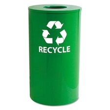 Indoor/Outdoor Round Steel Recycling Receptacle, 33 Gallons, Yellow Green