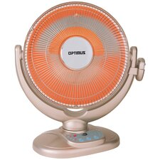 Fan Forced Compact Oscillating Dish Space Heater with Remote