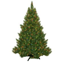 "4' 5"" Green Evergreen Fir Artificial Christmas Tree with 250 Pre-Lit Multicolored Lights"