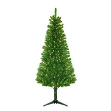 "4' 5"" Green Evergreen Fir Artificial Christmas Tree with 250 Pre-Lit Clear Lights"
