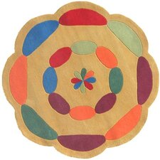 Kiddie Yellow Carousel Kids Rug