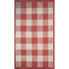 Cottage Kilim Berry Red Elegant Check Rug
