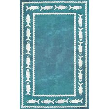 Beach Rug Fish Border Novelty Rug