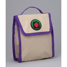 Lauren Snack Bag in Tan / Purples Trim and Liner
