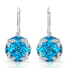 "élan ""Ivy"" Sterling Silver and Brilliant Diamond  18 Carat Swiss Blue Topaz Earrings"