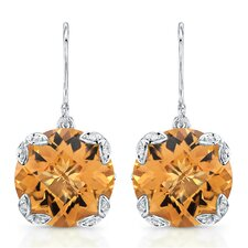 """Ivy"" Sterling Silver and Brilliant Diamond 15 Carat Orange Citrine Earrings"