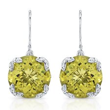 """Ivy"" Sterling Silver and Brilliant Diamond 14 Carat Green Gold Quartz Earrings"