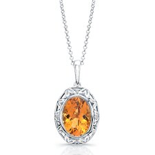 """Dawn"" Sterling Silver and Brilliant Diamond 5 Carat Orange Citrine Pendant"