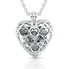 Sterling Silver Heart Diamond Pendant Necklace