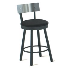 "Lauren 30"" Swivel Barstool with Stainless Steel Backrest"