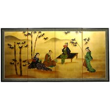 "36"" Ladies and Bamboo on Gold Leaf Silk Screen with Bracket"