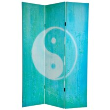 6 Feet Tall Double Sided Yin Yang/Om Canvas Room Divider