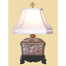 Rose Medallion Box Table Lamp