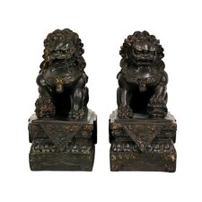 "9"" Foo Dog Statues in Dark Faux Antique Bronze Patina (Set of 2)"