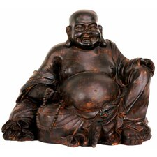 "8"" Sitting Laughing Buddha Statue in Faux Antique Bronze"