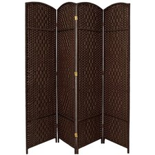 Diamond Weave 4 Panel Room Divider in Dark Mocha