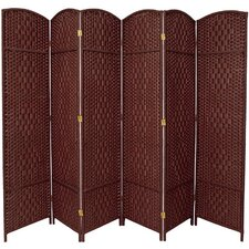 Diamond Weave 6 Panel Room Divider in Dark Red