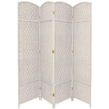 Diamond Weave 4 Panel Room Divider in White