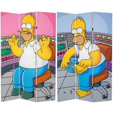 Tall Double Sided Homer at Work Canvas Room Divider