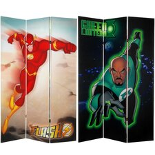 Tall Double Sided Green Lantern and The Flash Canvas Room Divider