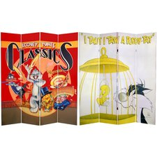 Tall Double Sided Tweety and Sylvester Canvas Room Divider
