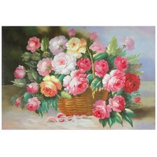 Hand Painted Basket of Peonies