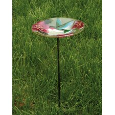 Bird Bath Stake HumBird in Glass