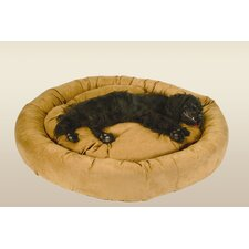 Round Bolster Pet Bed in Solid Microsuede