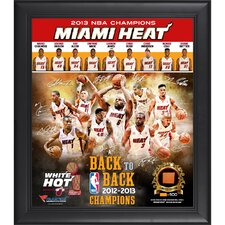 Miami Heat 2013 NBA Champions Framed Multi-Photo Collage with Game-Used Basketball Piece