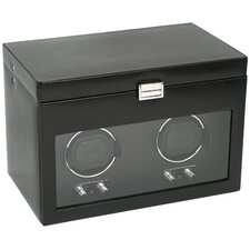Heritage Module 2.1 Double Watch Winder with Cover and Watch Storage in Black