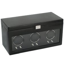 Heritage Module 2.1 Triple Watch Winder with Cover and Watch Storage in Black