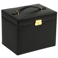 Heritage Chelsea Large Jewelry Case with Side Panel Doors, Five Drawers and Travel Case in Black